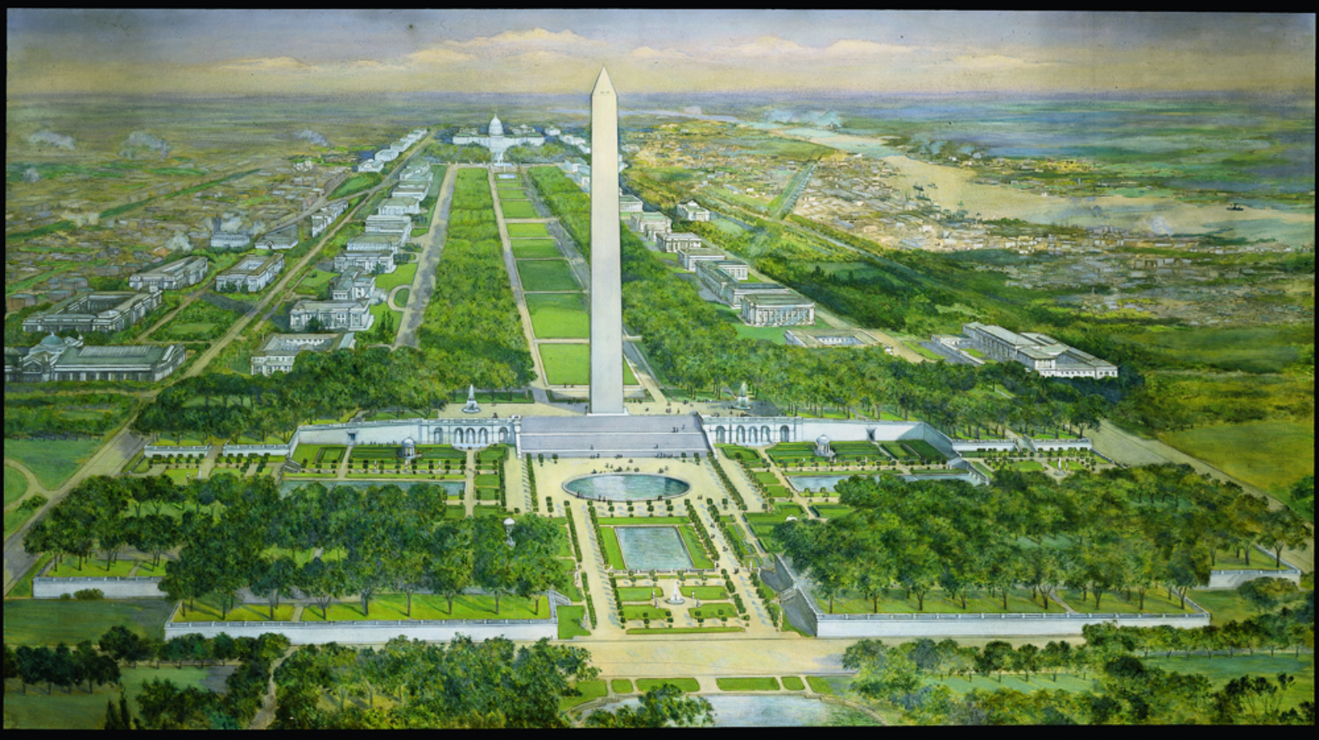 Plan for the National Mall -- Rendering of the Proposal for the Washington Monument grounds, by the Senate Park Commission, 1901-02.The wide steps, the circular pool, and the terraced gardens were all intended to provide a more dignified base for the monument, while resolving the awkward geometry resulting from its placement off the axis from the White House. Credit: Courtesy of the U.S. Commission of Fine Arts