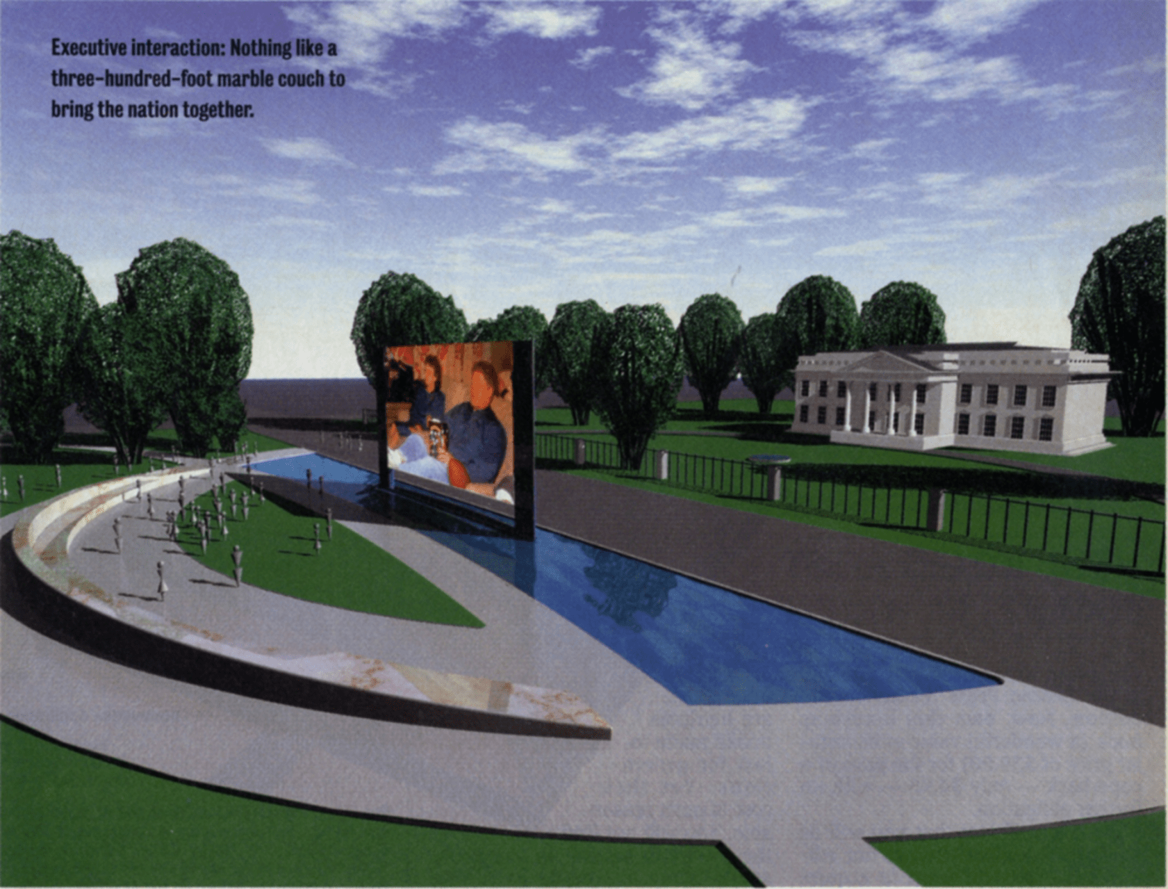 Rendering of the proposed National Sofa, to be located across Pennsylvania Avenue from the White House, by Jim Allegro, AIA, and Doug Michels, 1996. Allegro and Michels were concerned that the closure of Pennsylvania Avenue following the Oklahoma City bombing would further isolate the presidency from the people. They proposed the National Sofa as a place of virtual and physical interaction to address that gap. Credit: Copyright James Allegro, AIA and Doug Michels