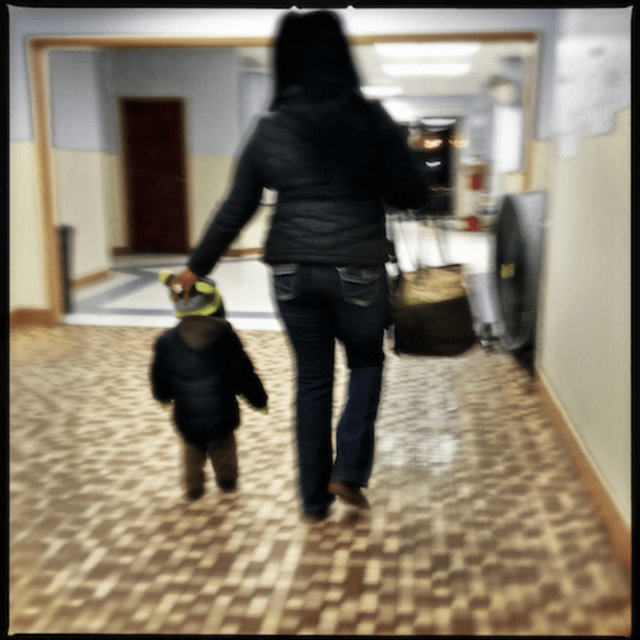 A family at the D.C. General homeless shelter