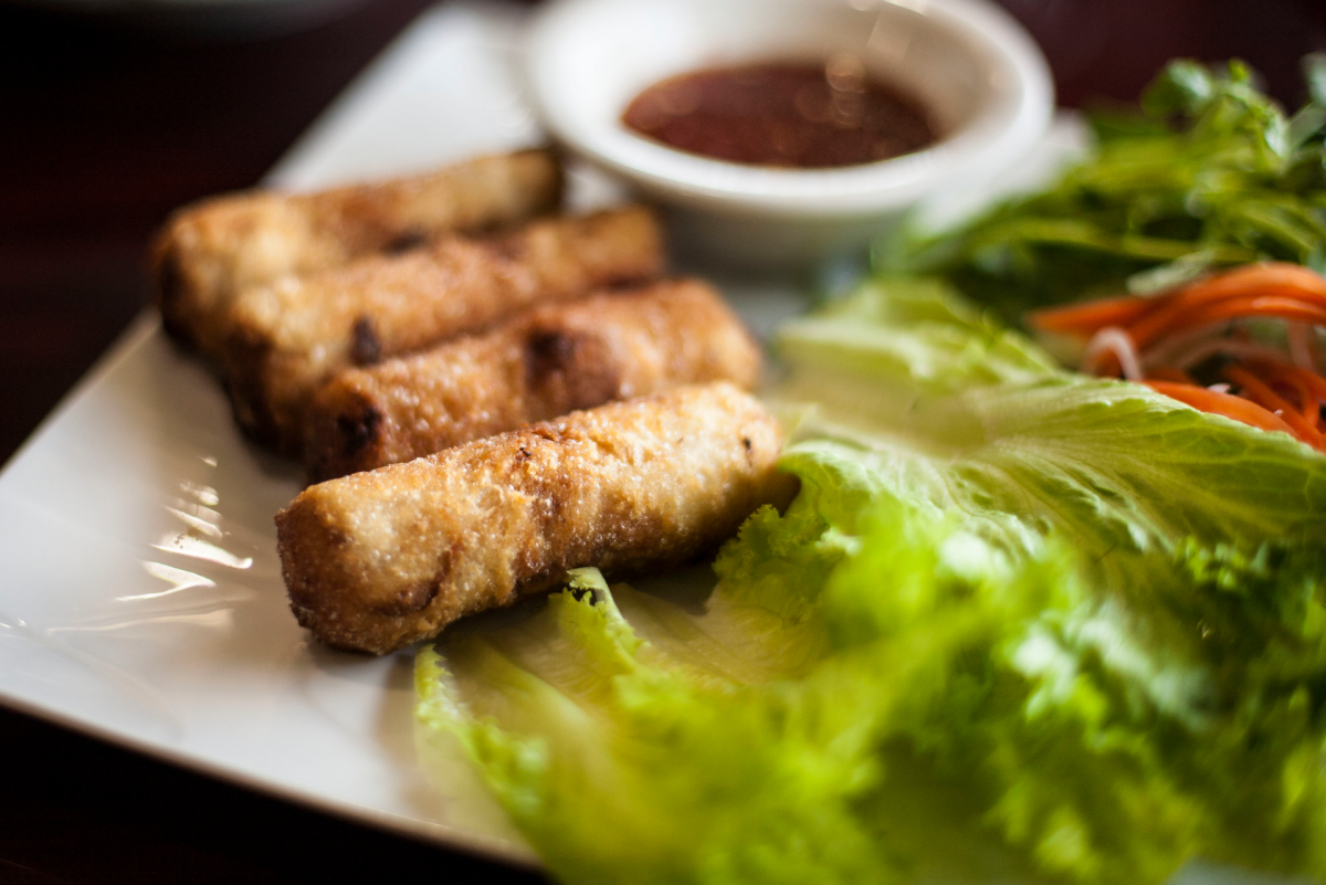 Photo of crispy spring rolls by Darrow Montgomery