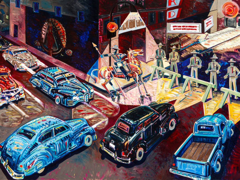 """The Closing of Whittier Boulevard"" by Frank Romero (1984)"