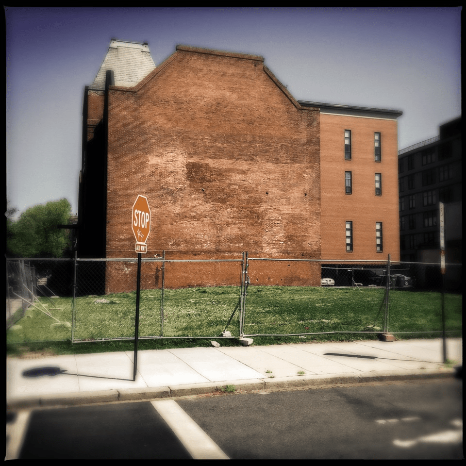 The formerly pitched site of the homeless shelter, at 10th and V streets NW.