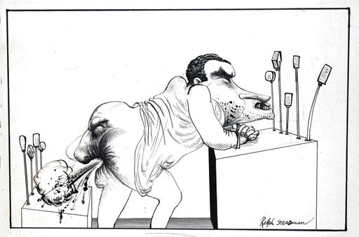 """Richard Nixon and Spiro Agnew"" by Ralph Steadman (1969)"