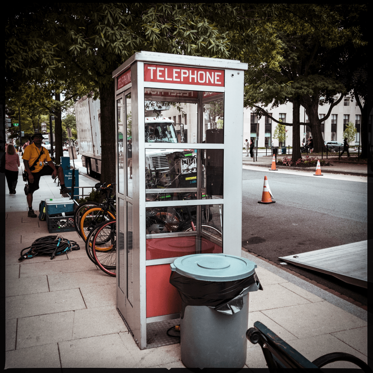 Period props across in McPherson Square, summer 2018