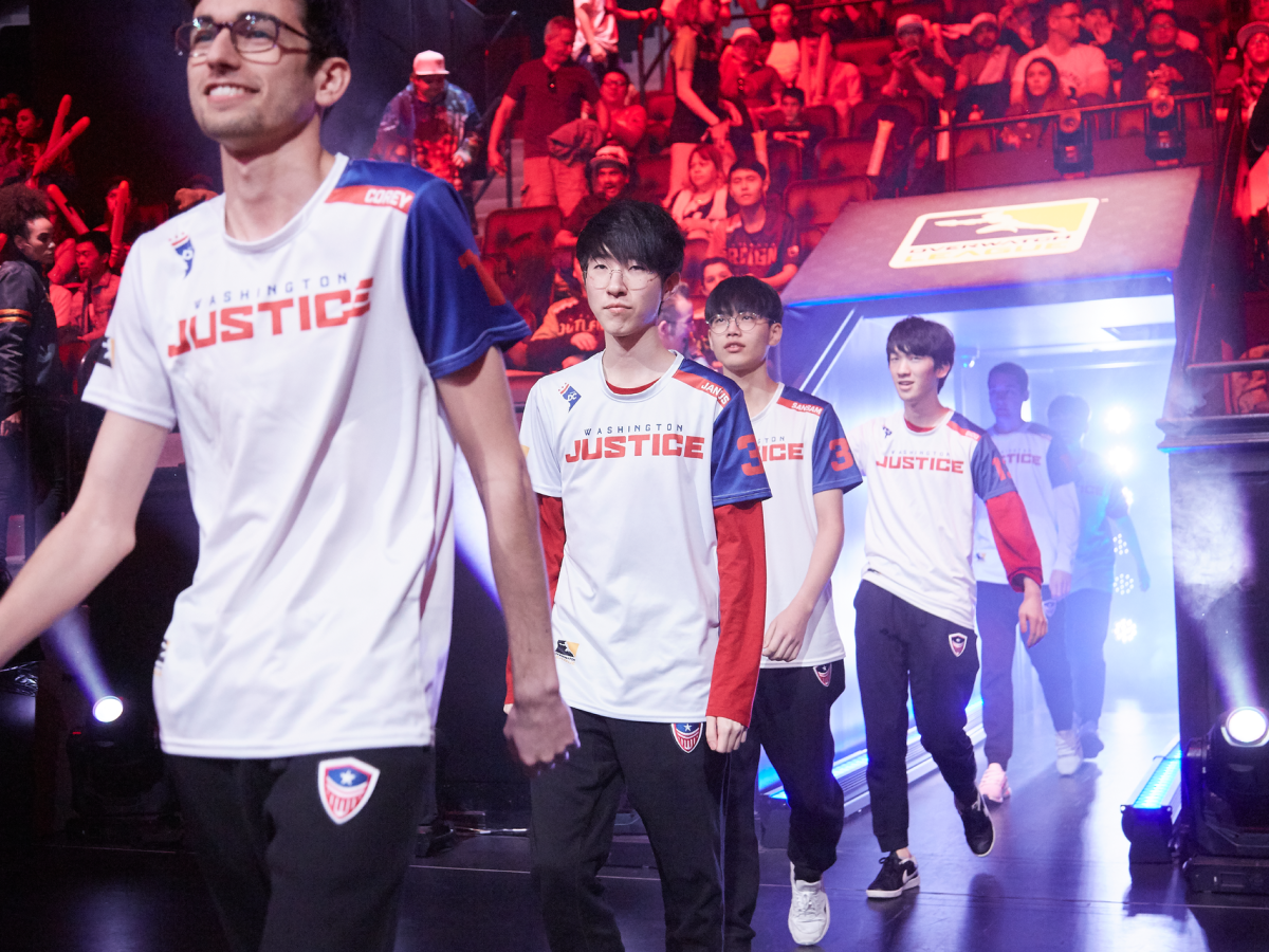 Washing Justice players before their match against Florida Mayhem