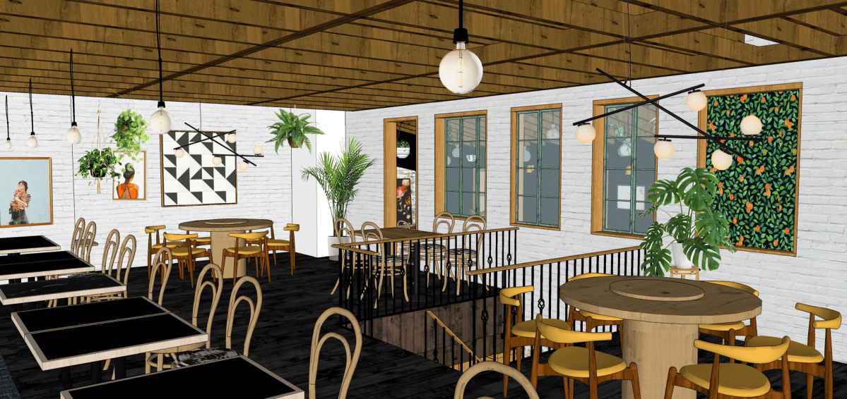 Upstairs dining room rendering courtesy Natalie Park Design Studio