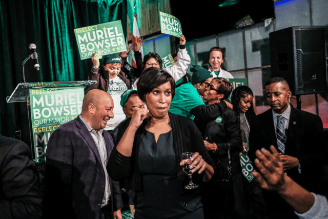 Mayor Muriel Bowser celebrates her re-election victory.