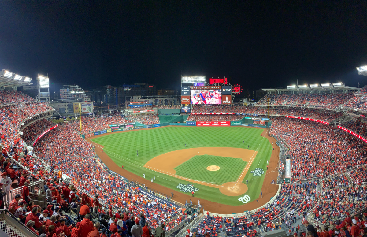 A rowdy and sold-out Nats Park during Game 5 of the World Series