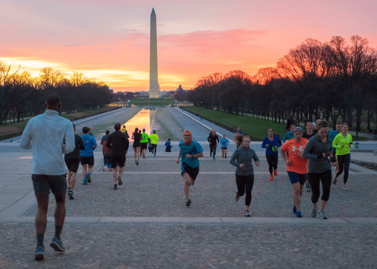 Runners working out near the Lincoln Memorial