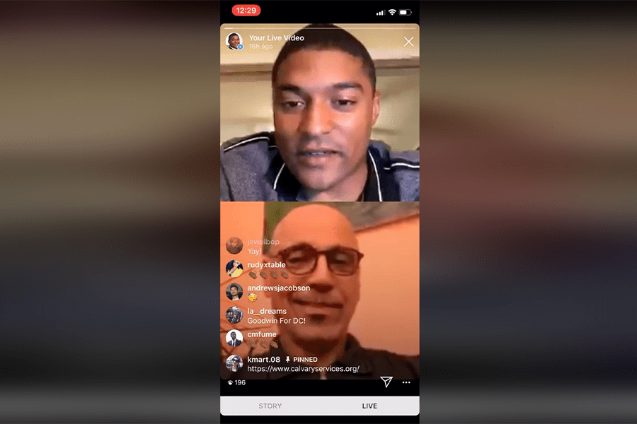 At-Large Council candidate Marcus Goodwin and Andy Shallal co-host a campaign happy hour on Instagram Live