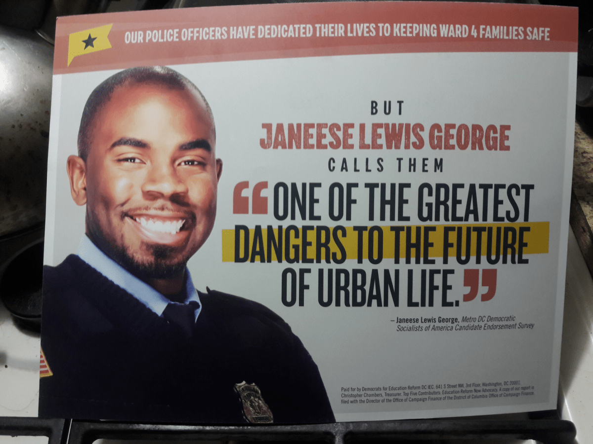 One Democrats for Education Reform DC mailer in the Ward 4 Council race.