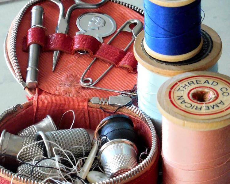 A sewing kit for use at the DCPL mending club