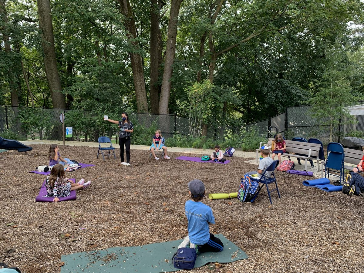 Students in playground receive outdoor learning
