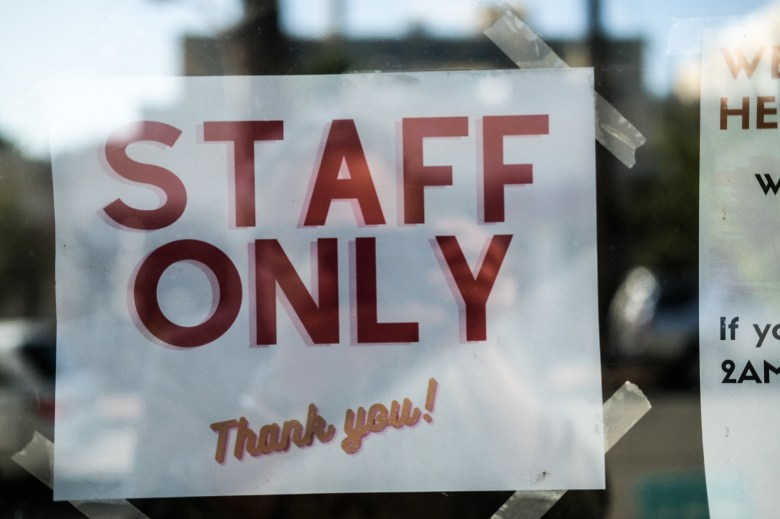 Staff only sign from 2Amys
