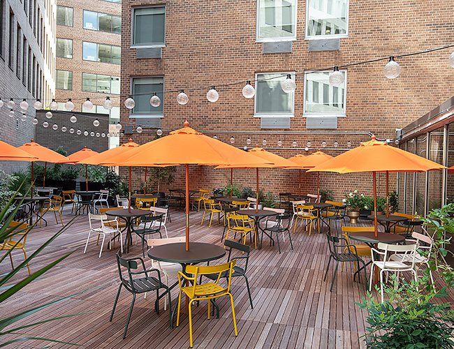 The patio at Mercy Me in West End
