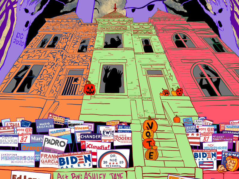 D.C. Council At-Large campaign signs and spooky buildings