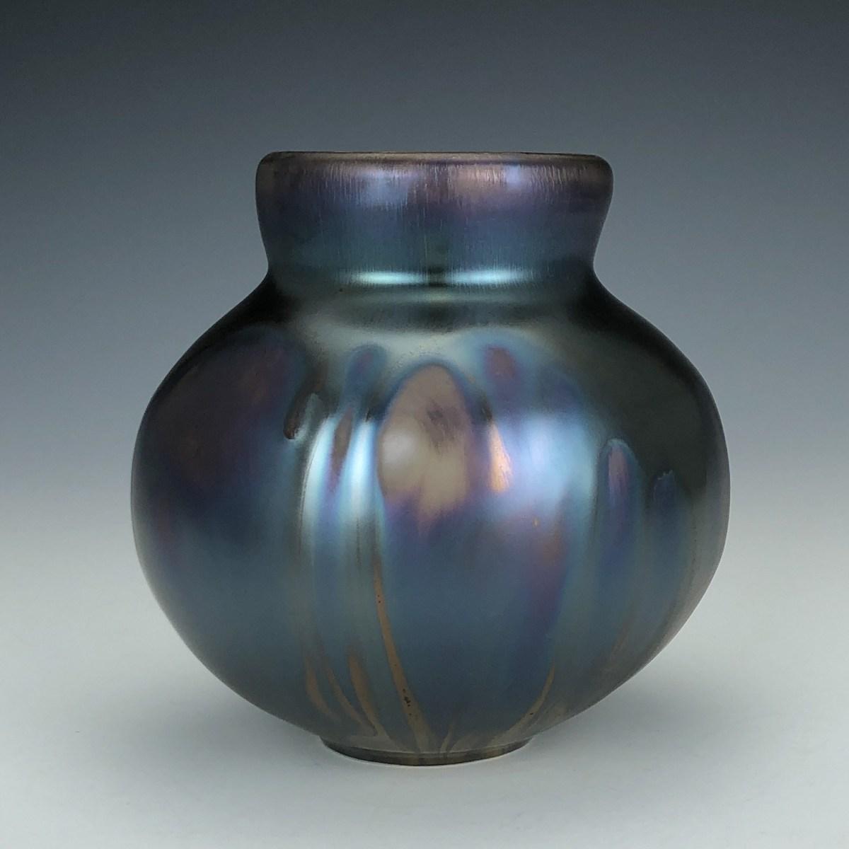 Blue Green Iridescent Vase by Lisa Zolandz