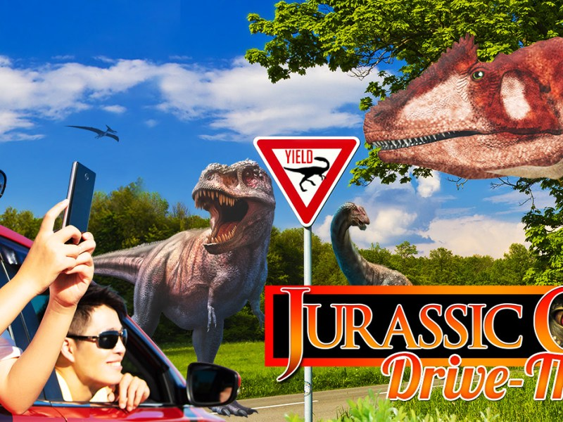 Promotional image for the Jurassic Quest drive thru.