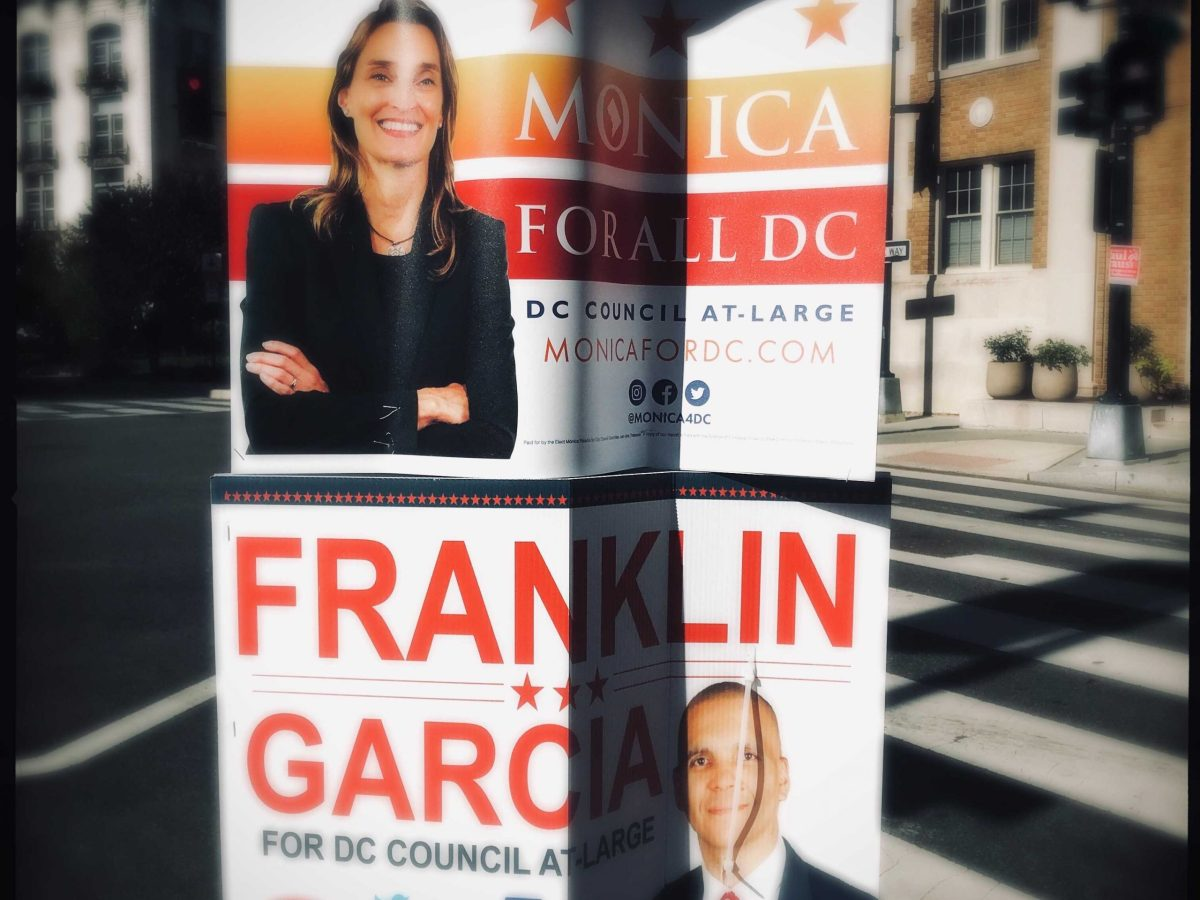 Campaign signs for Monica Palacio and Franklin Garcia