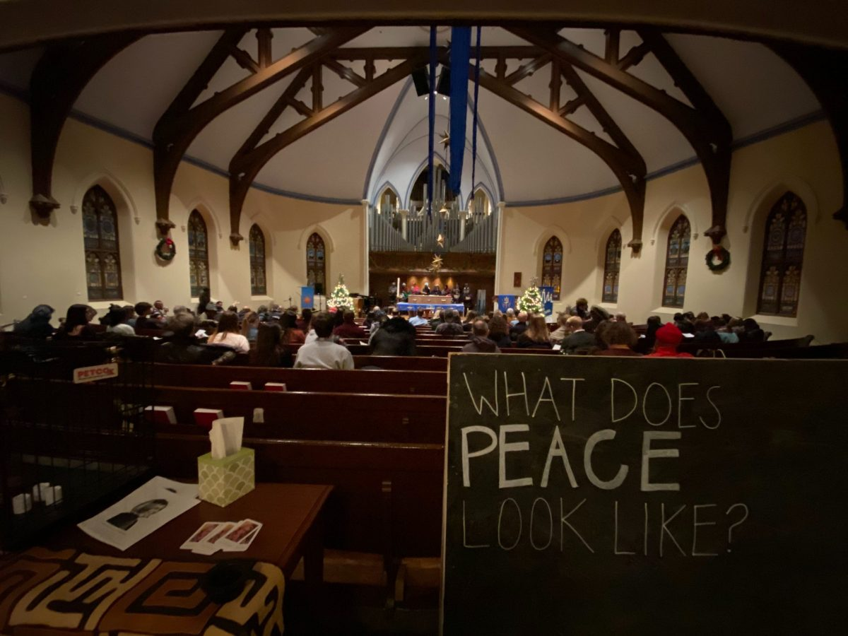Interior of people gathered in church for People for Fairness Coalition's seventh annual vigil for the homeless