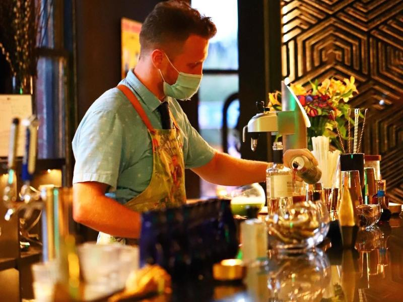 Jon Schott makes a drink at King's Ransom