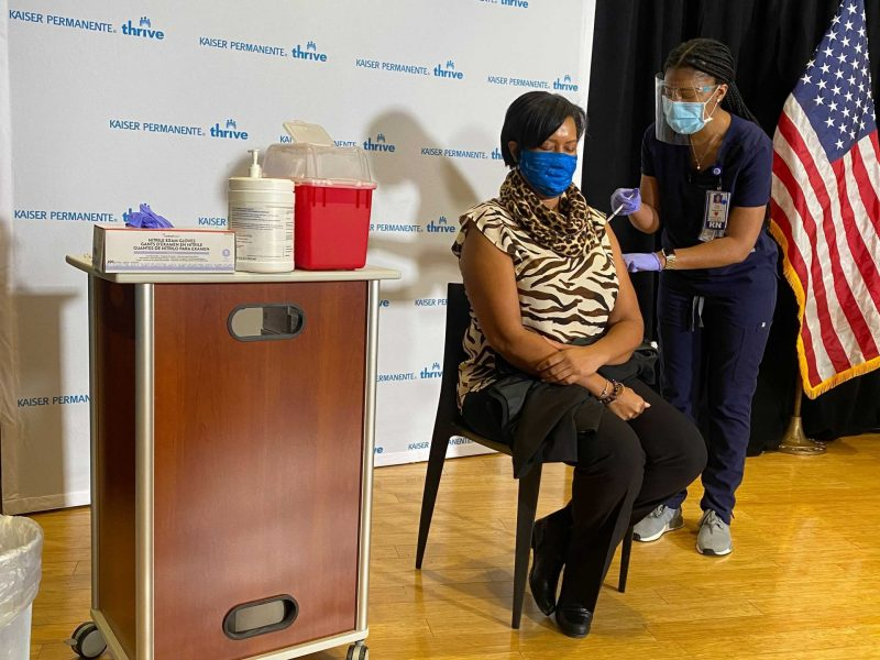 Mayor Muriel Bowser receives the first dose of the coronavirus vaccine