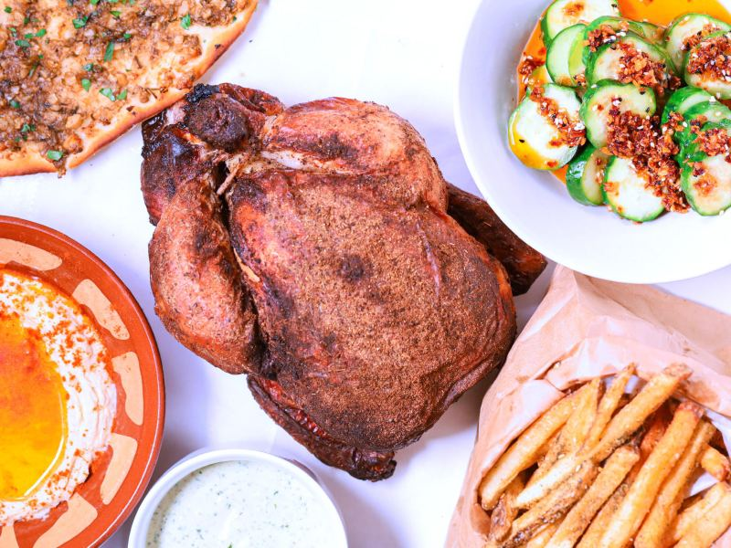 Shababi Palestinian-style rotisserie chicken and sides