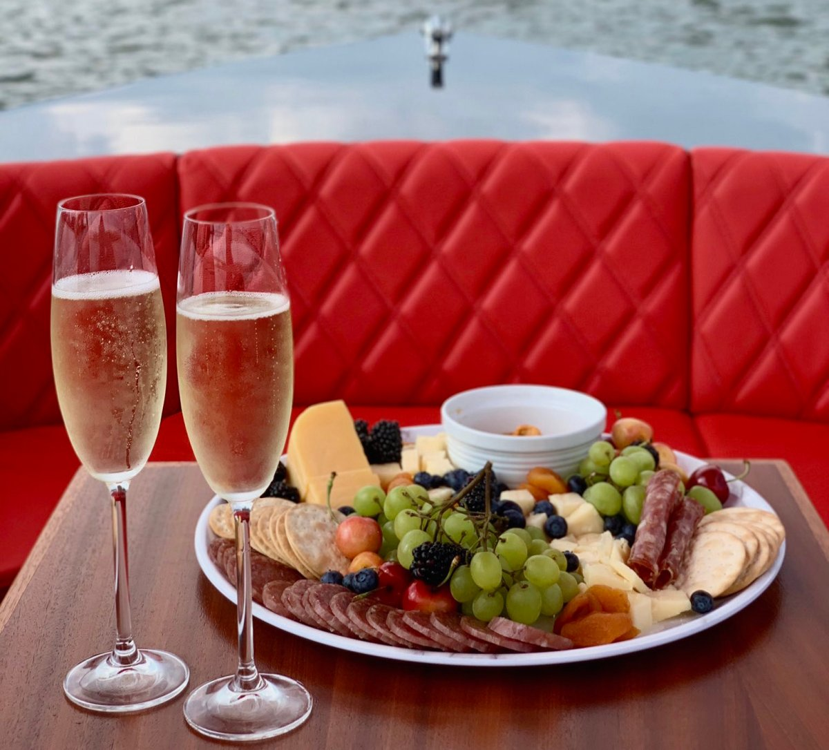 Charcuterie and cheese aboard a YACHTSY boat