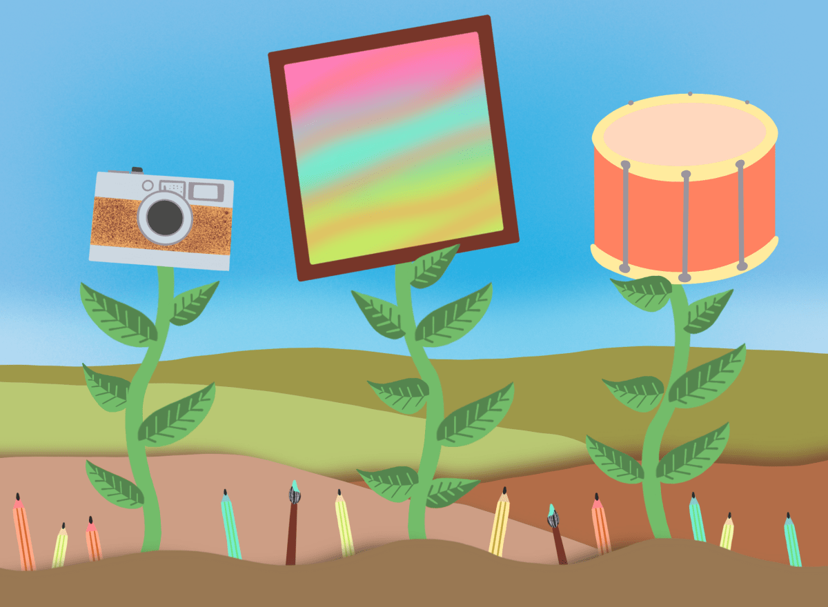 An illustration for an article on community supported art.