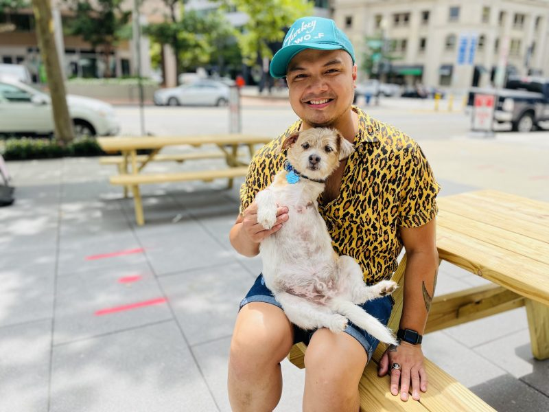 Chef Tom Cunanan with his dog Boogie Woogie