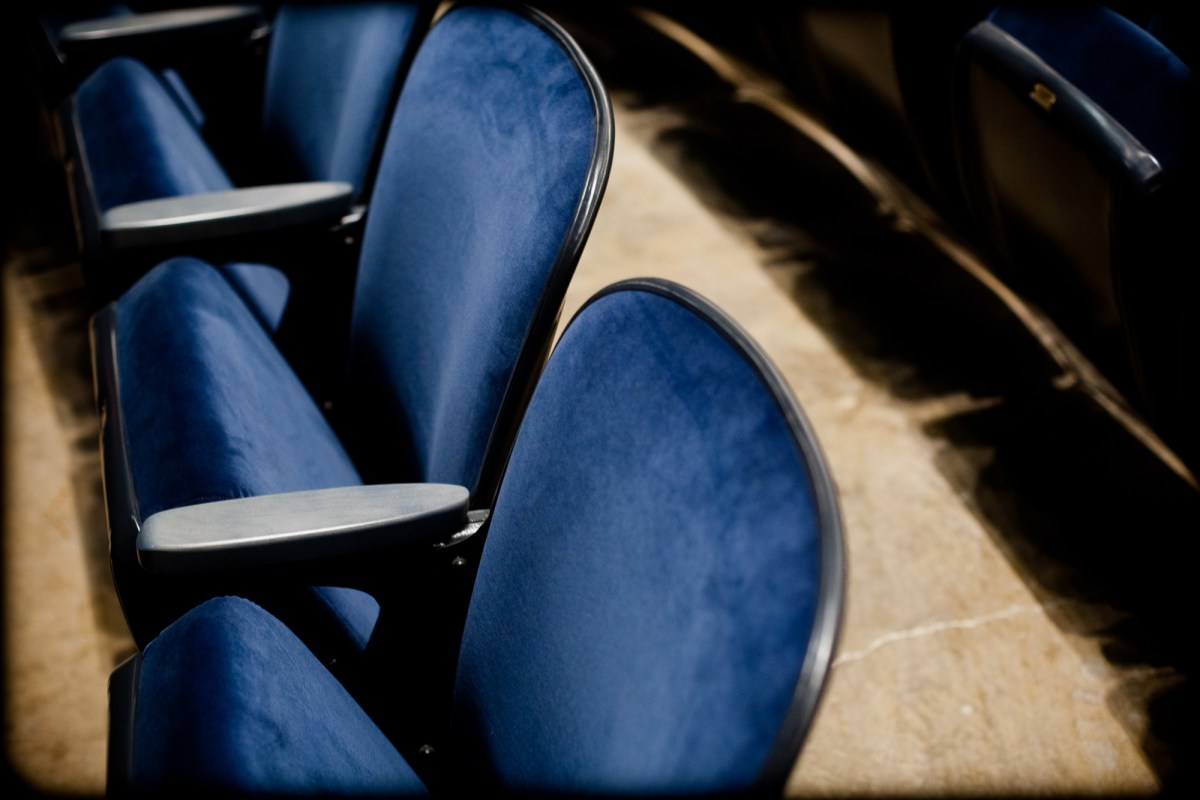Seats at Arena Stage, which will now require patrons to show proof of vaccination.