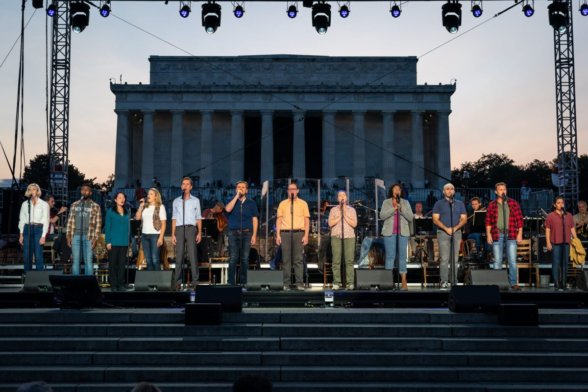 The company of Come From Away: In Concert at the Lincoln Memorialperform September 10, 2021, in Washington, D.C