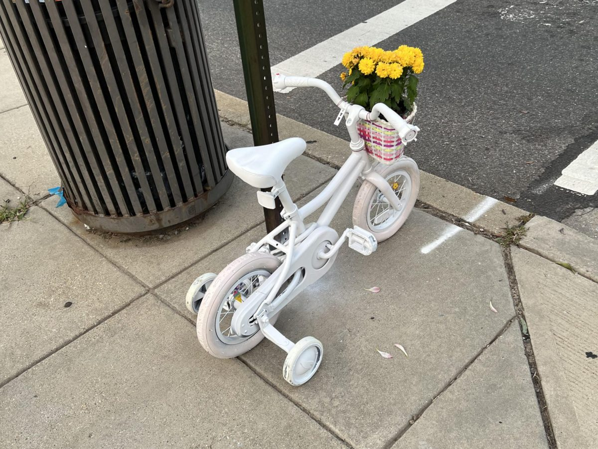 """A small """"ghost bike"""" painted white marks the spot where Allie Hart was killed"""