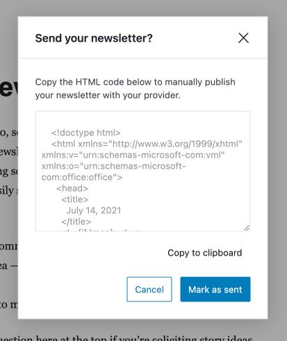 Newsletters Manual Send