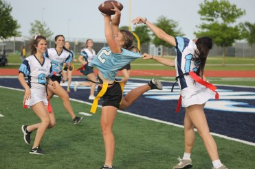 Junior, Jessica Walker makes an amazing catch near the endzone.