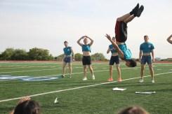 Senior, Lucas Fonteno flips during senior boys performance.