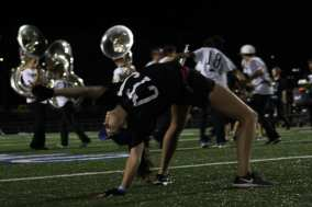 Colorguard does not only spin flags, but dance on the feild to add visual performance. Photo by Adelin Blackmon.