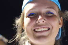 Wearing blue mascara is a tradition to show school spirit and pride. Photo by Camille Holland