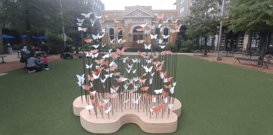 A butterfly art piece created by the parade sponsors