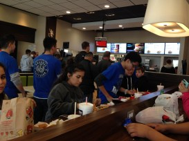 Cadets enjoying some Mickey D's before heading back on the road.