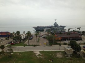 An overlook of the ship before arrival.