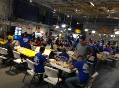 All the cadets and parents gathered together to enjoy a delicious meal on the ships deck.
