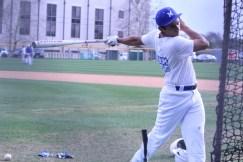 Senior Issac Velazquez practicing his hitting