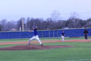 Senior Ethan Gottschalk pitching at the Clemens scrimmage