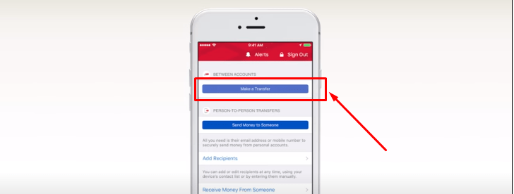 Transfer Money from BofA to chase bank using Bank of America mobile application.
