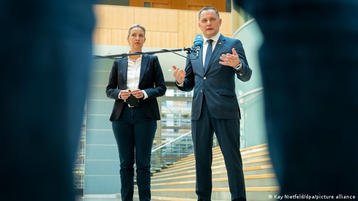 Alice Weidel and Tino Chrupalla, co-chairs of Germany's far-right AfD party