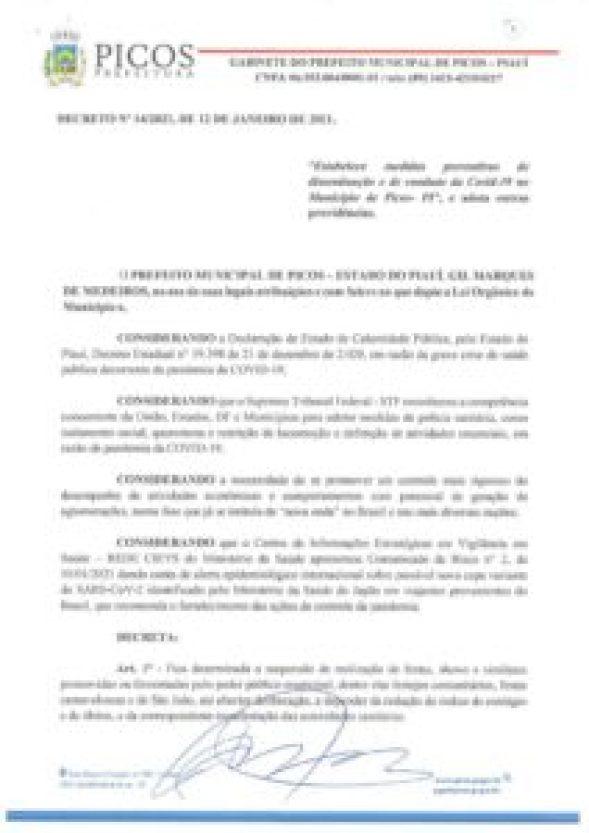 Prefeito de Picos emite decreto suspendendo o Carnaval e o São João
