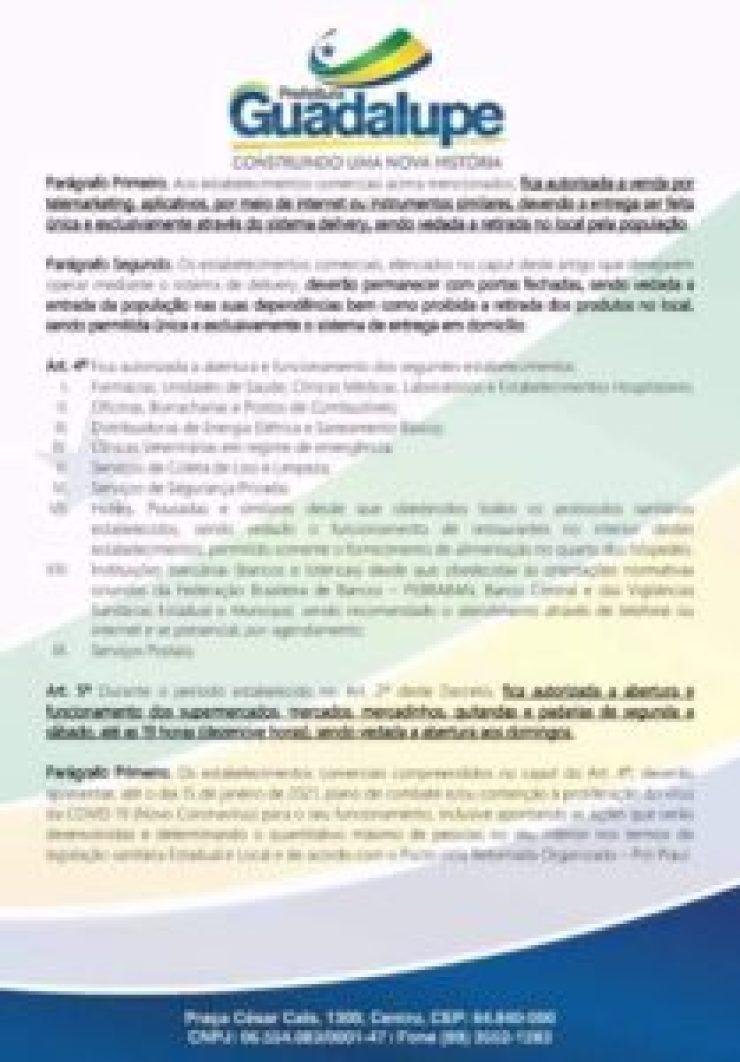 Covid-19: Prefeita Neidinha Lima emite decreto de calamidade pública em Guadalupe