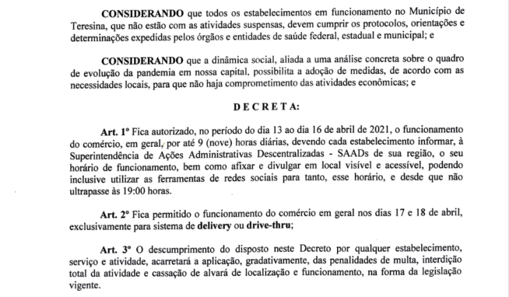 Prefeitura de Teresina emite decreto e autoriza o funcionamento do comércio na sexta-feira