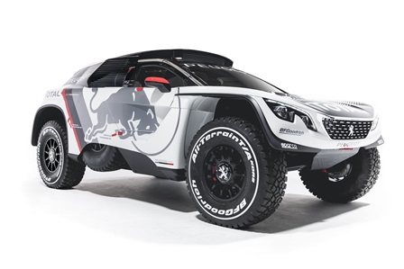 The new Peugeot 3008 DKR during a studio photoshoot at Paris